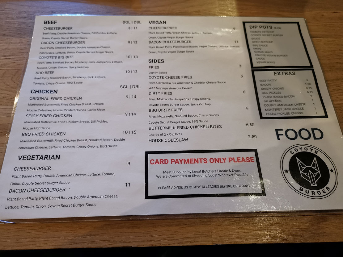 Page 1 of the menu at Coyote's Inverness