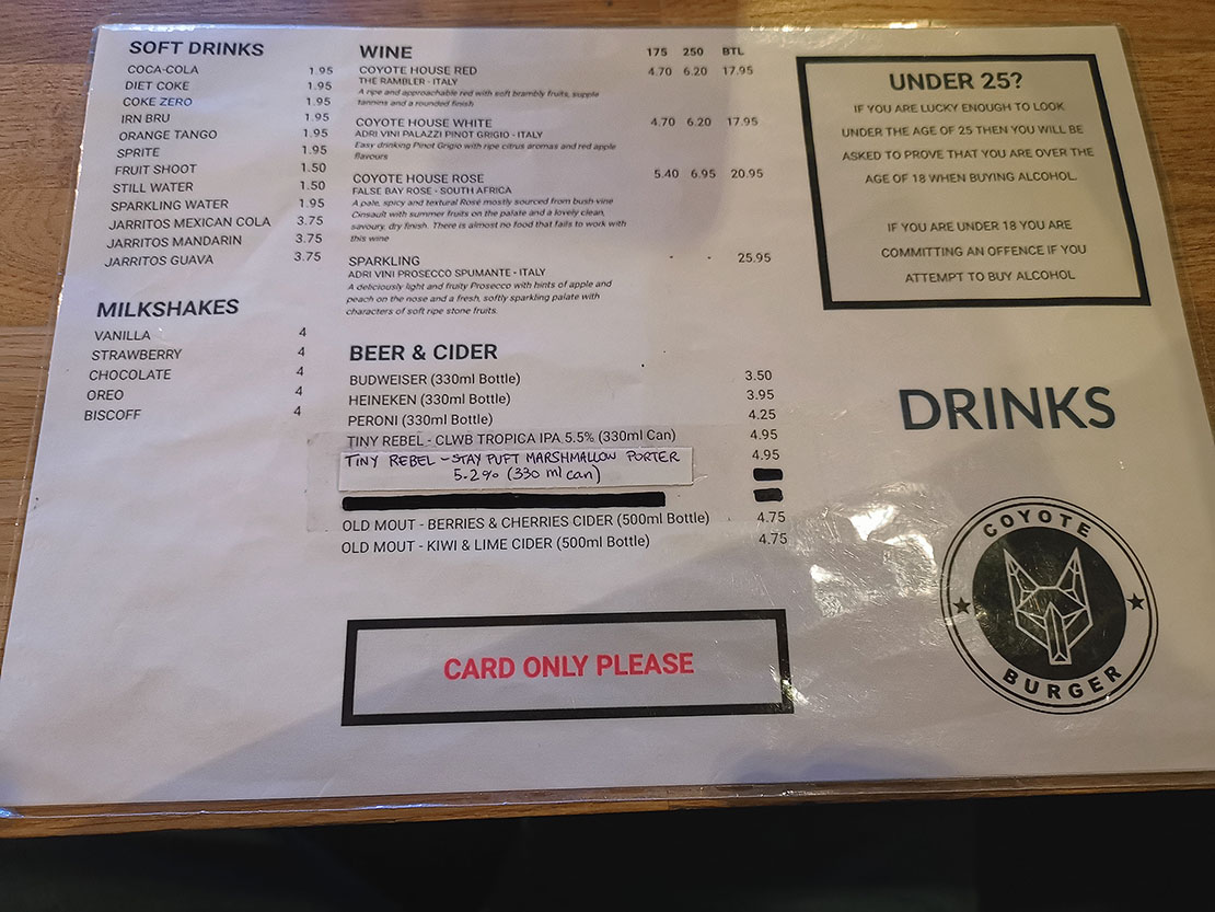 Page 2 of the menu at Coyote's Inverness
