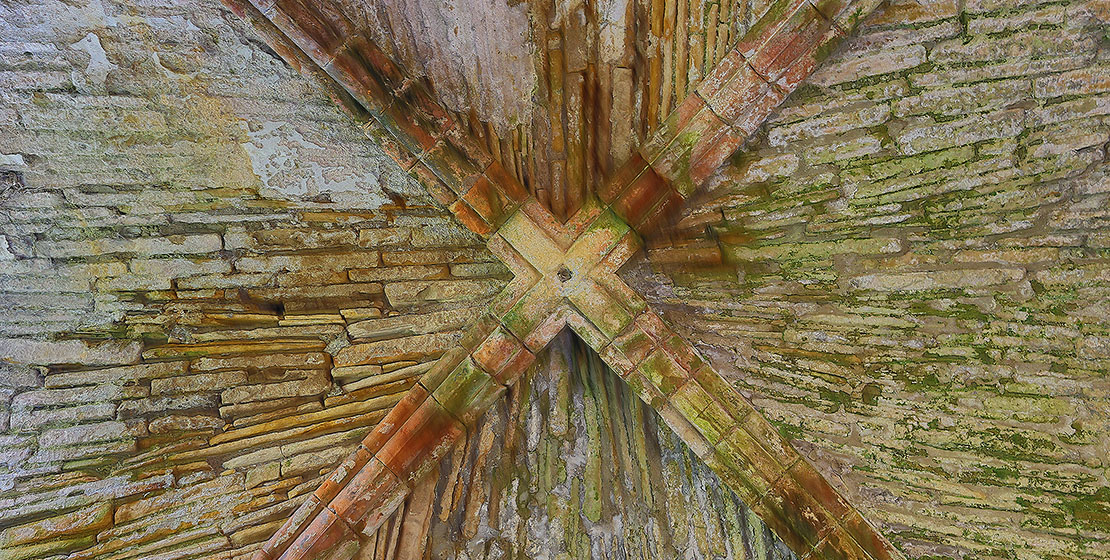 Kinloss Abbey interior ceiling detail