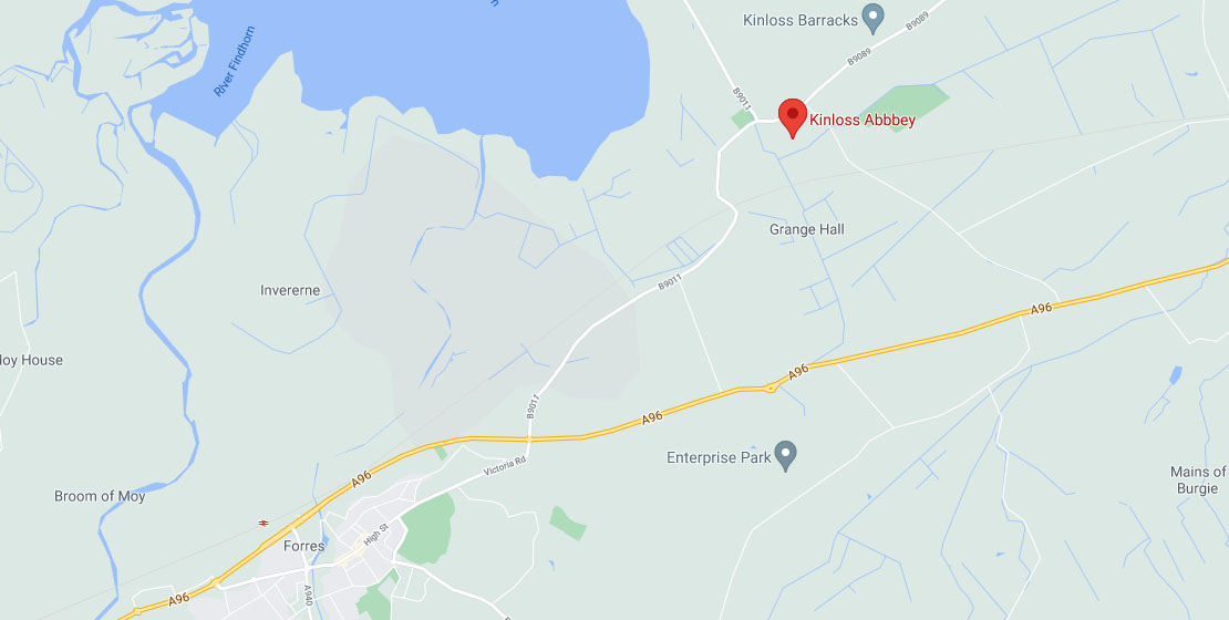 Map of Kinloss Abbey location