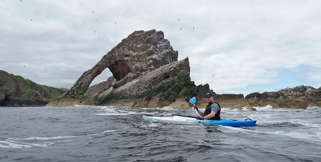 Kayaking Bow Fiddle Rock, Portknockie