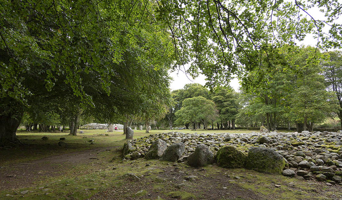 Overview of the site at Clava Cairns near Inverness.