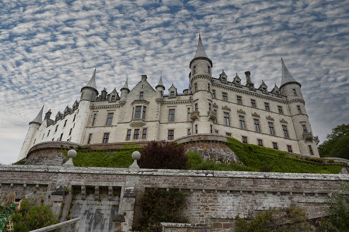 View from gardens, looking up! French chateâu features.