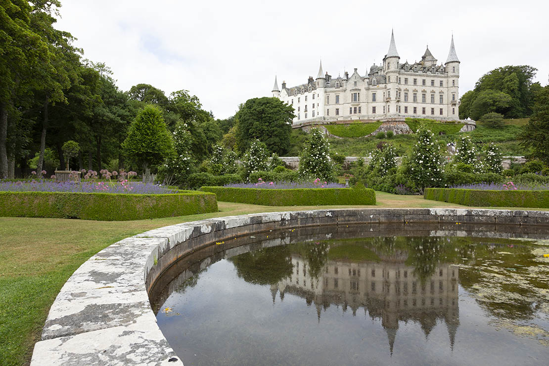 Dunrobin Castle view with pond.