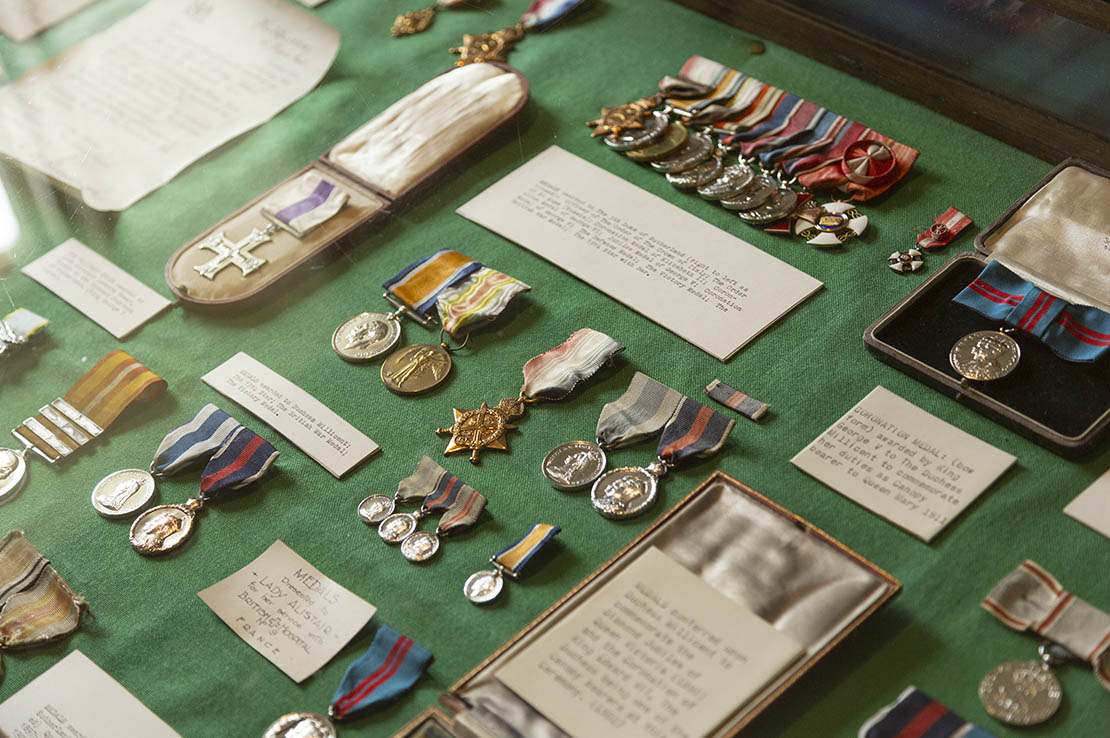 Medals in the military room.