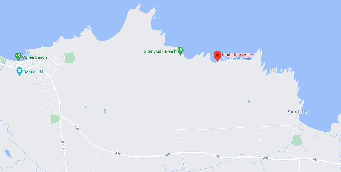 Map of Findlater Castle location