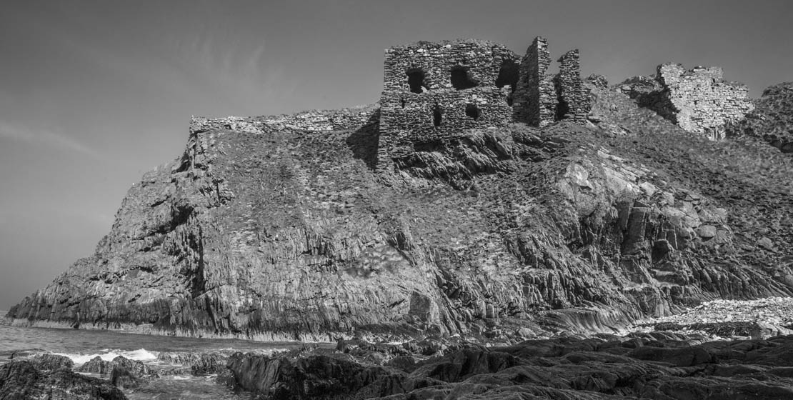 Findlater Castle showing beach and rock sections