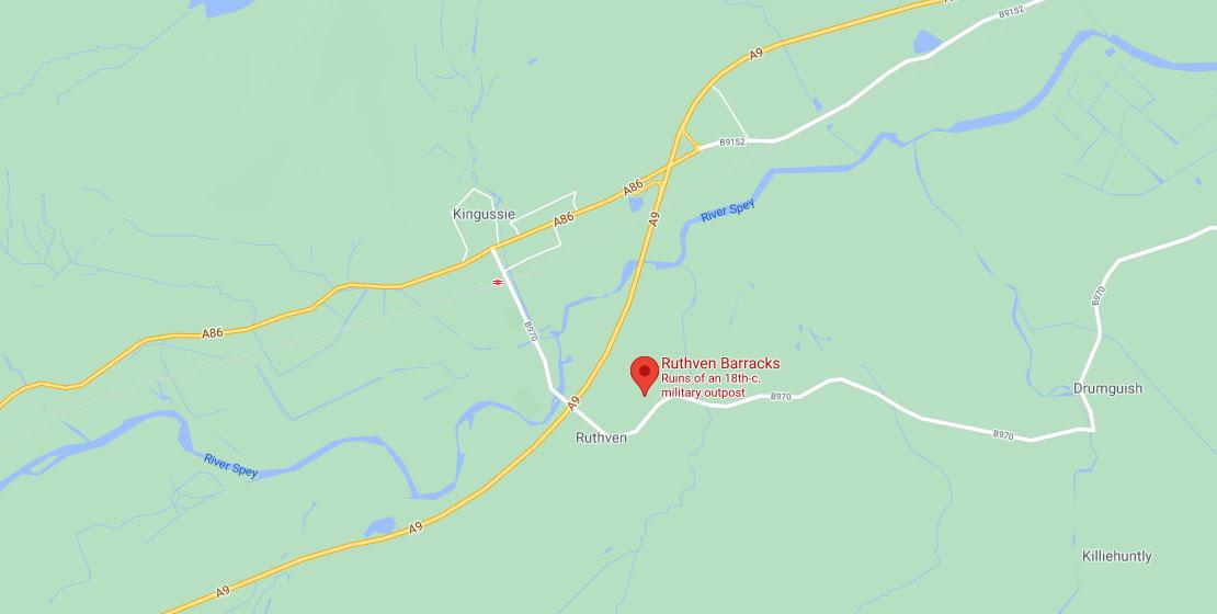 Ruthven Barracks Map Location