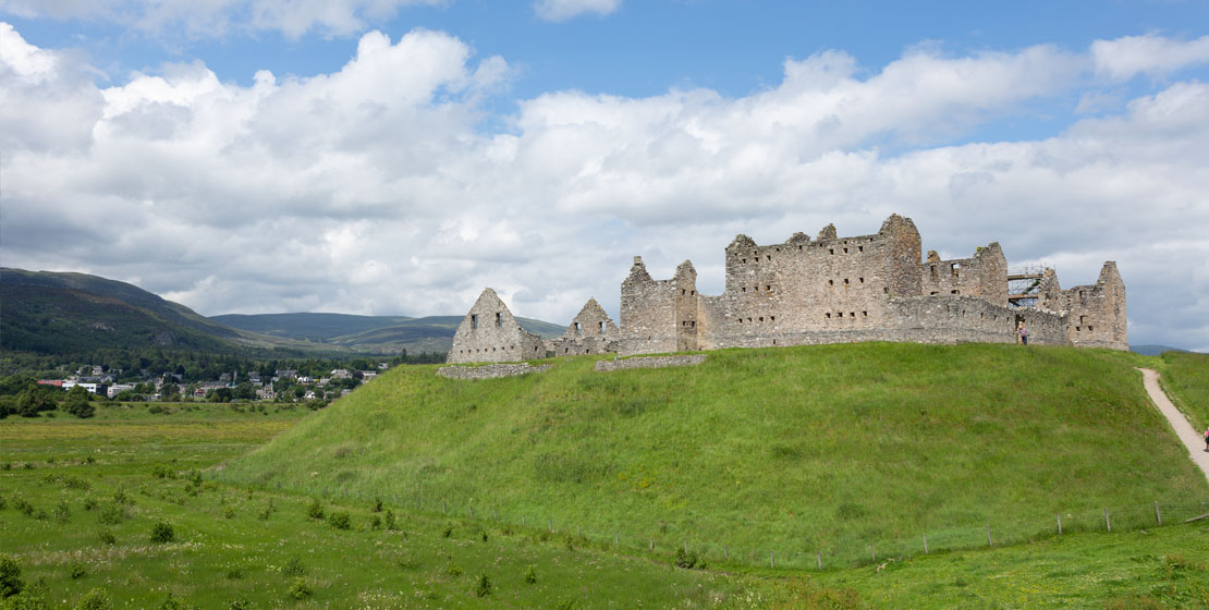 View of Ruthven Barracks from the car park.
