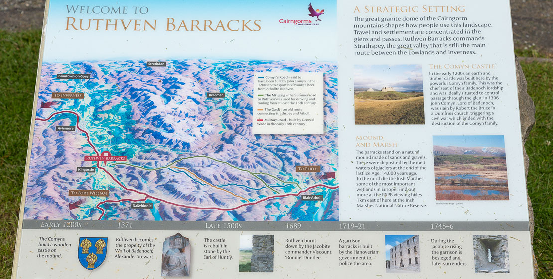 One of the many informational boards around Ruthven Barracks.