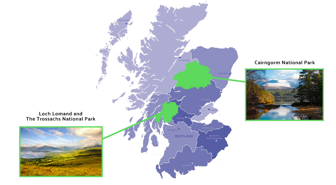 Location of National Parks in Scotland