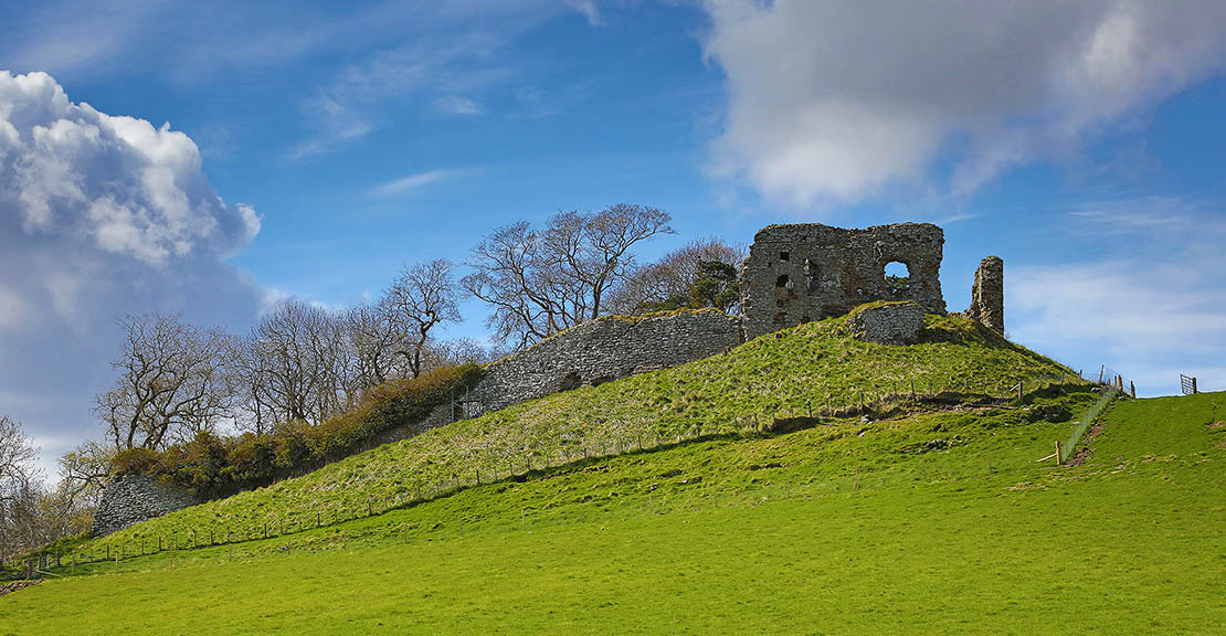 Skelbo Castle in Sutherland, Highland, on a beautiful day.