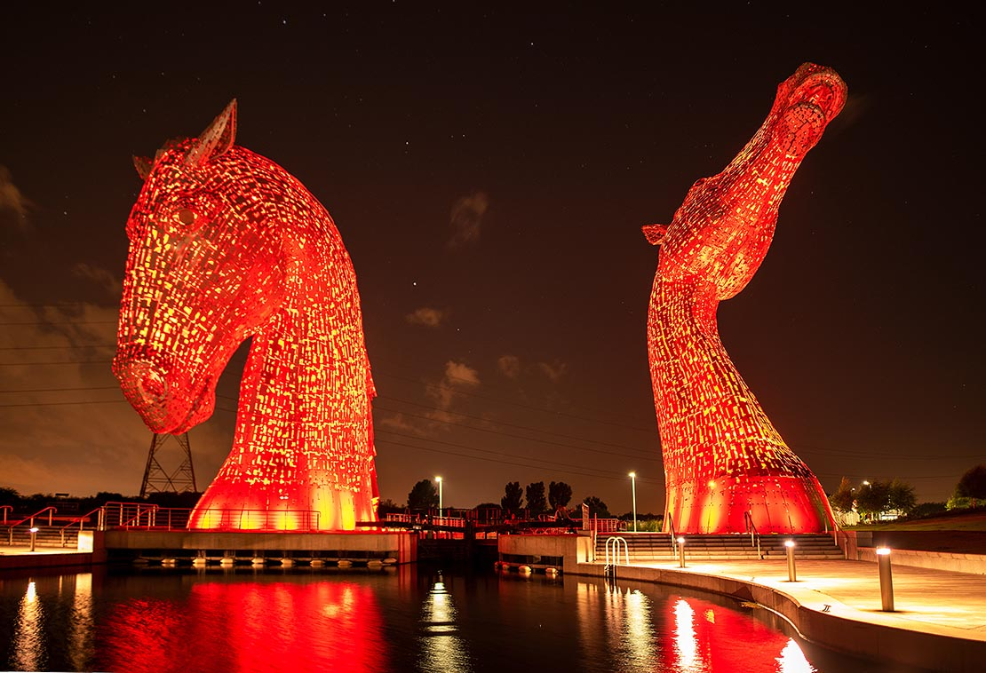 The Kelpies at night   The Helix Project   Public Art