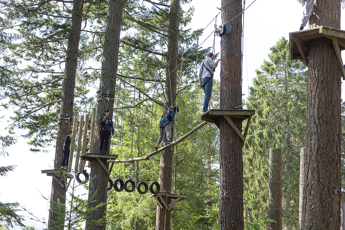 My family on the course at Treezone.  White knuckle bridges and balance beams.